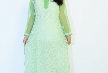 Buy Hand Embroidered Lucknowi Chikan Light Green Georgette Kurti